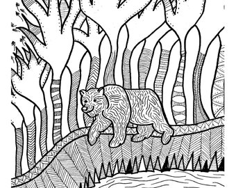 Bear's Day Out - A4 Print - Black and White - Drawing - Pattern - Tree - Woods - Nature