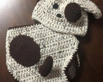 Crochet Dog Baby hat and diaper cover 0-6 months