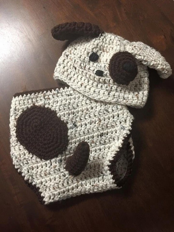 Crochet Dog Hat And Diaper Cover Pattern : Crochet Dog Baby hat and diaper cover 0-6 months by ...