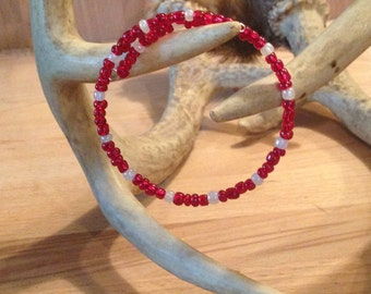 Red and White Glass Bead Bracelet