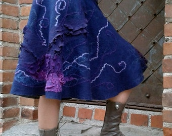 """Skirt feltFelted lilac, blue skirt """"Let's go!""""- ready to ship"""