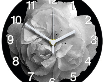 Black and white rose clock