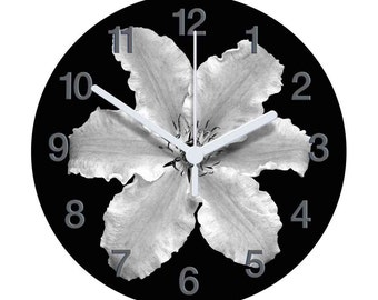 Black and White Clematis Clock