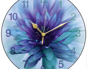 Blue Ice Lily Clock