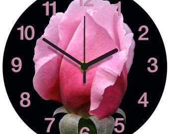 Single Pink Rose Clock