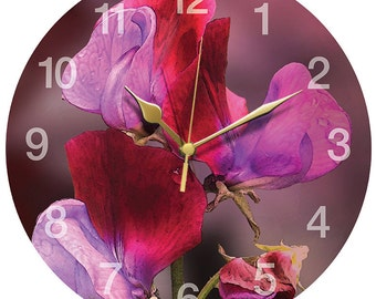 Pink Sweet Pea Clock