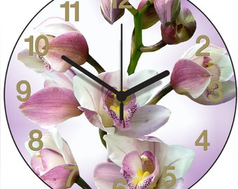 Pink Orchid Clock