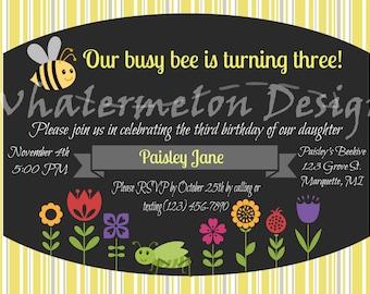 Busy Bee Birthday, Yellow and Gray Invitiation, Digital Invite, Third Birthday, Downloadable Birthday Invitation