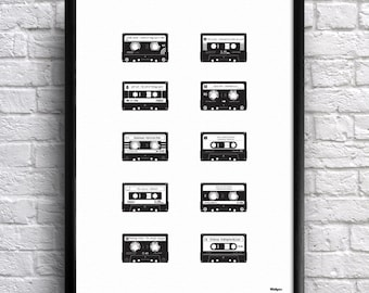 Music Mixtape Cassette. Personalised Print for Music Lovers