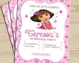 Pink Dora Invitation