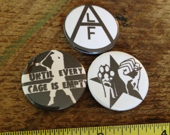 ALF animal liberation/ animal rights pin buttons 3 pack or 6 pack