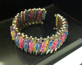 Colorful Safety Pin Bracelet