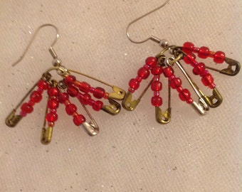 Handmade Beaded Safety Pin Earrings
