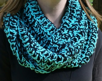 Blue and black marble infinity scarf