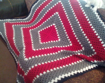 Red and Gray Granny Square crochet afghan.  Large Granny Square afghan.  Buckeyes themed afghan.  Afghan in Ohio State Buckeyes colors.