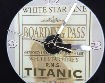 TITANIC White Star Line Boarding Pass CD CLOCK (Can be Personalised)