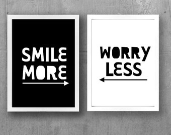 Smile More / Worry Less A4 Wall Art Print Set - Digital Download