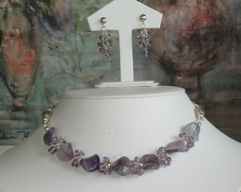 Amethyst beaded necklace  -  196