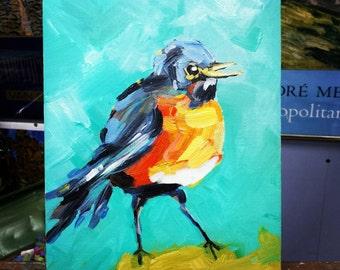 kansas robin~ original painting by wilena ~ birds
