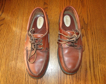 RARE Brown Leather Boat shoes Nantucket Fieldmaster Men 8 D NICE