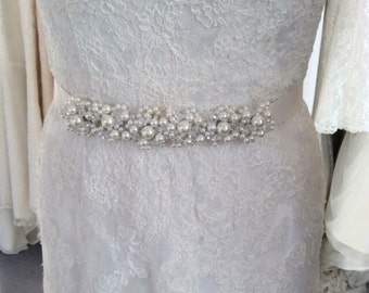 Polly'  Crystal and pearl bridal sash.