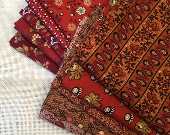 10 Varying Shades of Red Printed Fat Quarters 100% Cotton E9