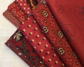 10 Varying Shades of Red Printed Fat Quarters 100% Cotton E10