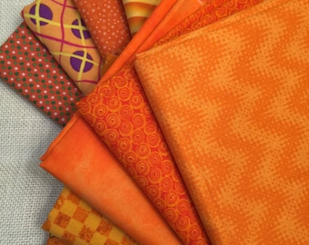 10 Varied Shades of Printed Orange Fat Quarters 100% Cotton E26
