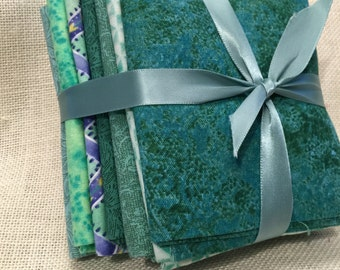 Shades of Green 7 pc Fat Quarter Bundle 100% Cotton E38