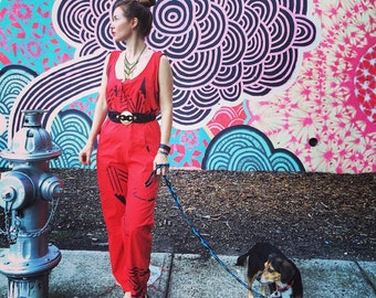 Retro RED Geometric Abstract 80's Tribal Vintage Sleeveless Jumpsuit Onsie Romper Pockets Jermicko Sportswear