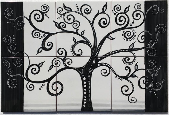 Hand painted tile mural the painted tree black tree decor for Black tree mural