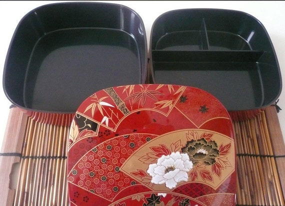 japanese 6 w lacquer sensu fan lunch bento stack box 2. Black Bedroom Furniture Sets. Home Design Ideas