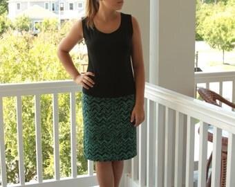 Turquoise Skirt / Black Skirt / Knee Length Skirt