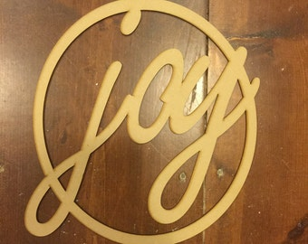 Modern Laser Cut Wood Sign JOY  Wall Decoration