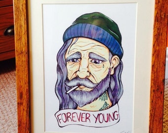 Framed Forever young illustration A4 print