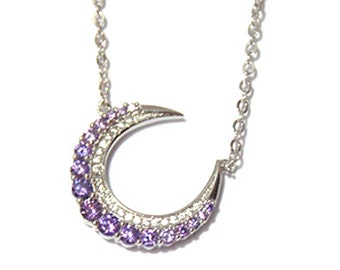 Boho Purple Moon Pendant