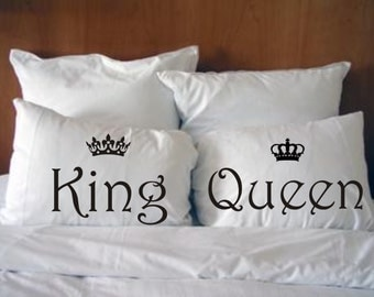 King and Queen Pillowcases His and hers, Wedding Gift. Style #9