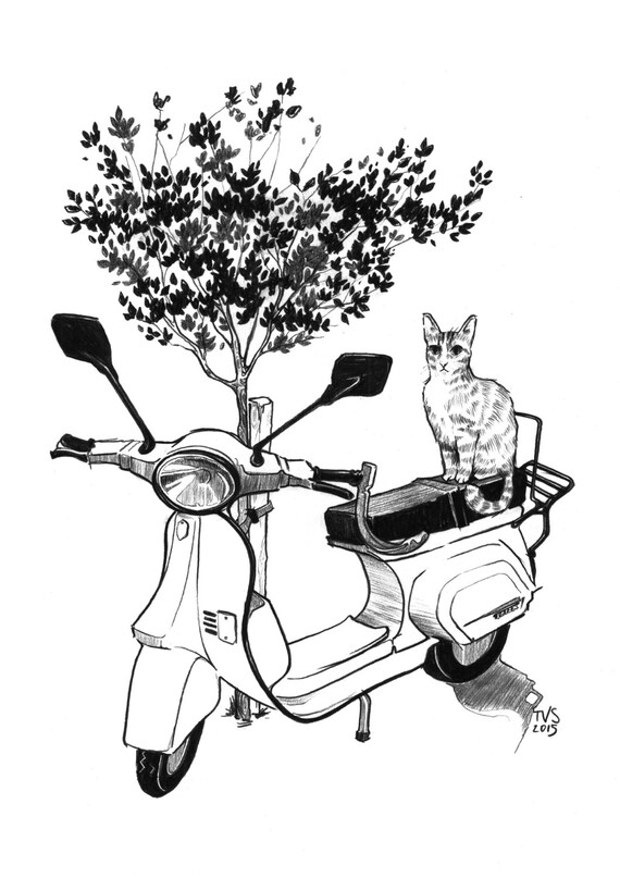 Day 2 Print: Scooter and cat