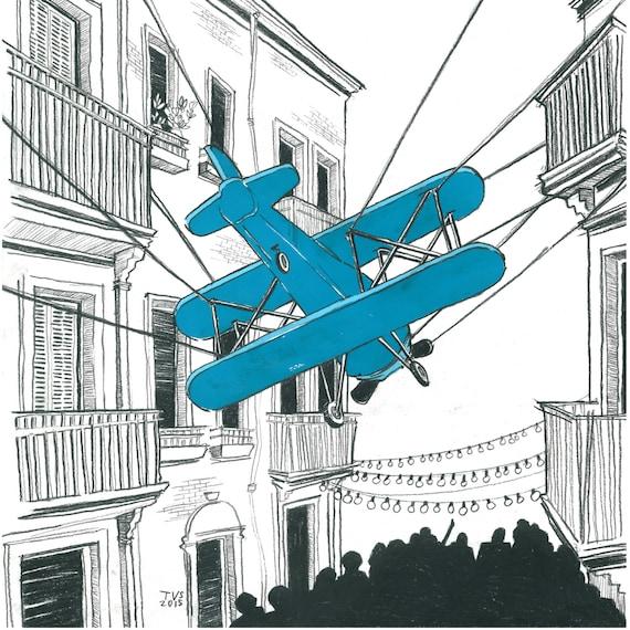 Day 30 Print: Plane swooping over the Festa Major de Sants, Barcelona