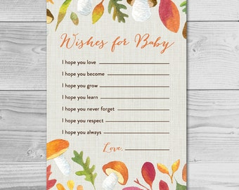 Fall Harvest Baby Shower Activity - Wishes for Baby - Instant Download Printable - Gender Neutral