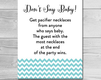 Simple Blue Chevron Baby Shower Game - Don't Say Baby - Instant Download Printable - Baby Boy