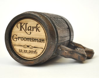 Personalized Groomsman Laser Etched Wooden Beer, Mug for the Best Man Gift,  Personalized Groomsmen Gift, Wedding Gift for Grandpa & Grandma