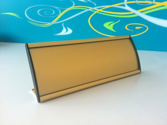 Office Name Plates: Office Name Plate. Gold Desk Name Sign. Office Position Sign