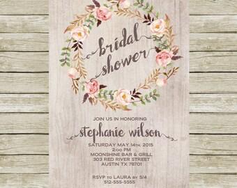 Rustic Bridal Shower Invitation Printable, Floral Bridal Shower Invites