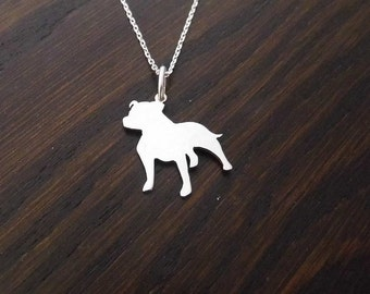 Staffie Silhouette Pendant handmade by saw piercing with optional chain