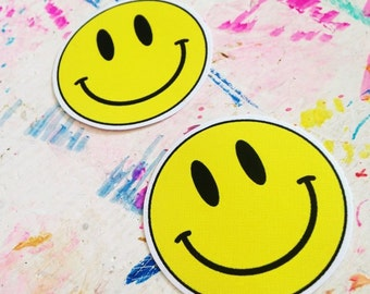 Set of two 90s Acid smiley face stickers