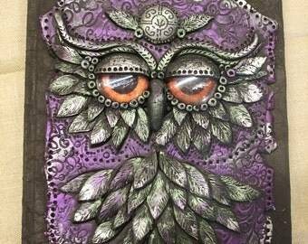 Owl journal made from polymer clay