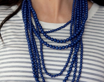 7 Strand Bead Necklace - Navy Blue