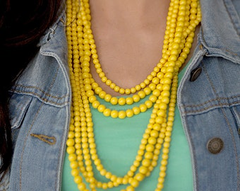 7 Strand Bead Necklace - Mustard