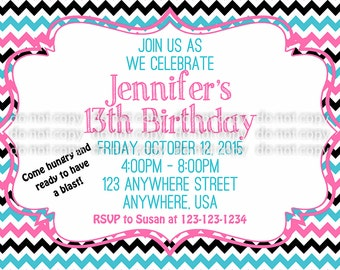 Simple 13th Birthday Invitation - Blue/Pink/Black Chevron - Teen